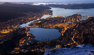 Widok na Bergen z lotu ptaka