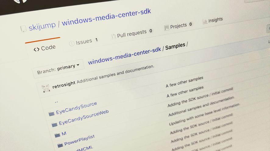 Windows Media Center SDK z otwartym kodem. Źródła są na GitHubie