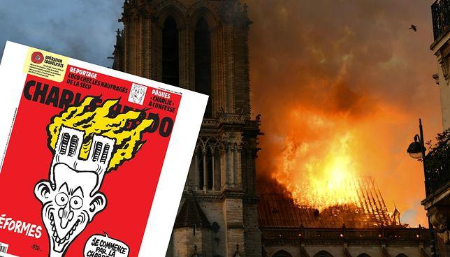 """Katedra Notre Dame w płomieniach. Okładka """"Charlie Hebdo"""""""
