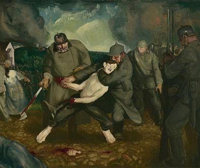 """Niemcy od samego początku dopuszczali się zbrodni w Belgii. Na ilustracji fragment obrazu Georga Wesleya Bellowsa """"Niemcy przybywają"""""""