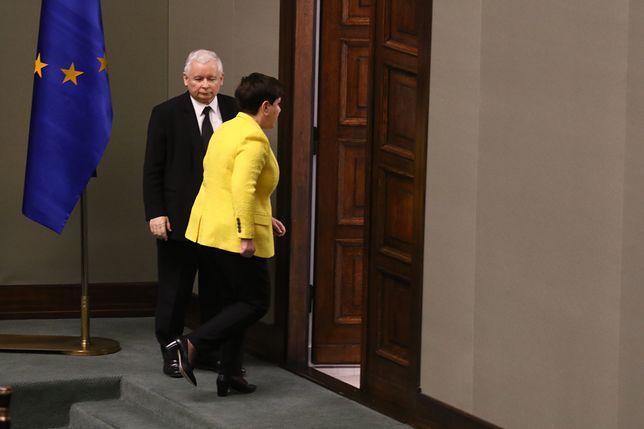 Beata Szydło opuszcza sejm po głosowaniu nad wotum nieufności dla rządu