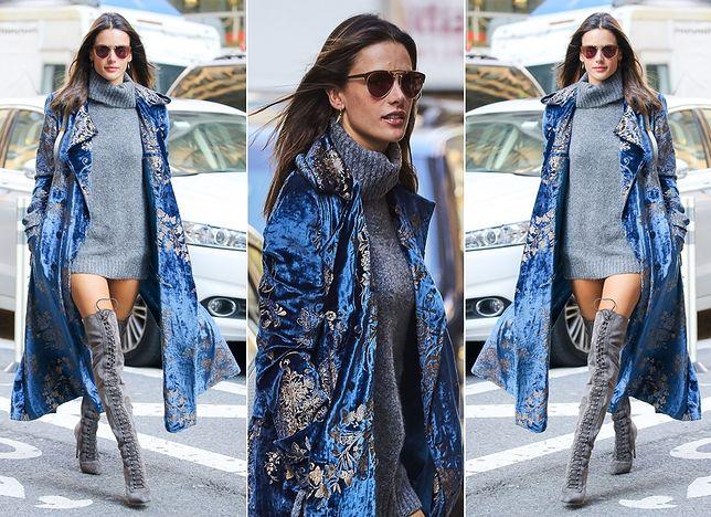 Alessandra Ambrosio w modnym aksamicie