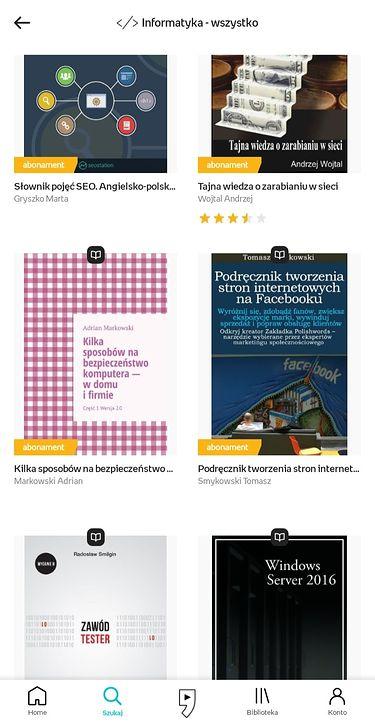 e-booki dostępne w abonamencie są oznaczone żółtymi etykietkami