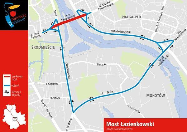 Pożar Mostu Łazienkowskiego. Spore utrudnienia dla kierowców. Miasto przygotowało objazdy