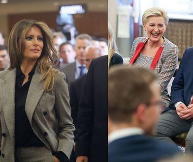 Agata Kornhauser-Duda i Melania Trump w podobnych stylizacjach