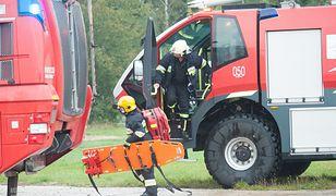 Wypadek w żwirowni. 11 jednostek straży pożarnej w akcji