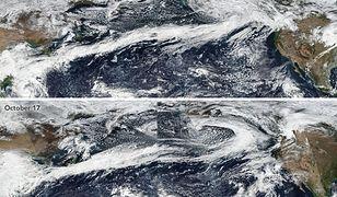 Na zdjęciach satelitarnych z października na Oceanem Spokojnym widać rozległe pasy chmur, przynoszące burze, wilgoć i silny wiatr