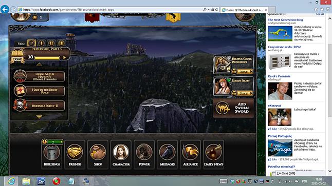 Facebokowa gra Game of Thrones