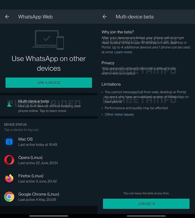 Interfejs obsługi wielu urządzeń przez WhatsAppa
