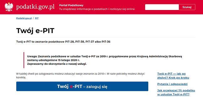 Twój e-PIT na stronie podatki.gov.pl.