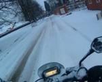 Jazda motocyklem w śniegu - stres na maxa