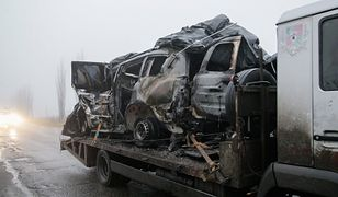 Zniszczony samochód OBWE