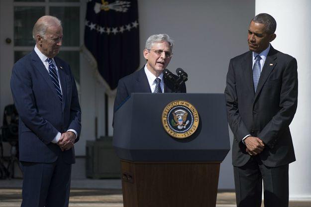 Od lewej: wiceprezydent USA Joseph Biden, Merrick Garland i prezydent USA Barack Obama