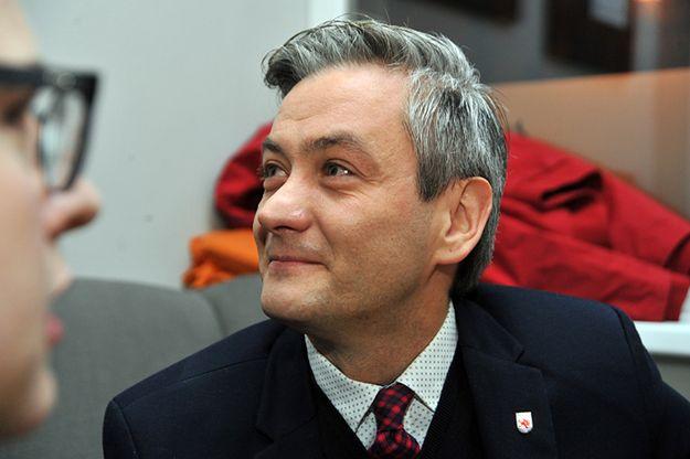 Robert Biedroń tuż po ogłoszeniu wyników drugiej tury wyborów na prezydenta Słupska w dniu 30 listopada 2014 roku.