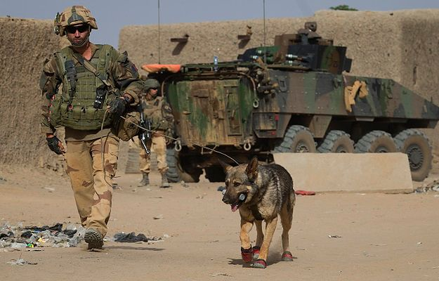 Francuski żołnierz patroluje teren miasta Gao podczas interwencji w 2013 r.