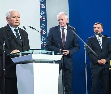Zjednoczona Prawica. Jarosław Kaczyński oraz koalicjanci podczas konferencji prasowej (zdj. ach.)