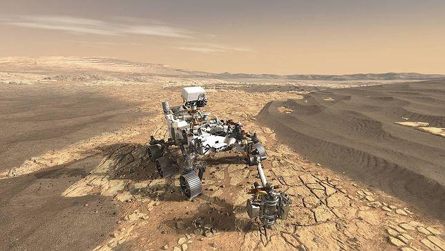 Wizualizacja łazika Perseverance na Marsie