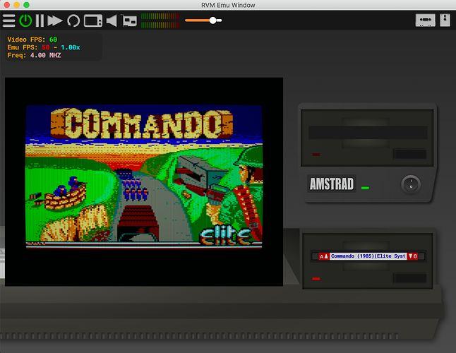 Amstrad CPC 664 miał stację dysków. W trakcie wczytywania nie słychać pisków, ale ruch głowicy.