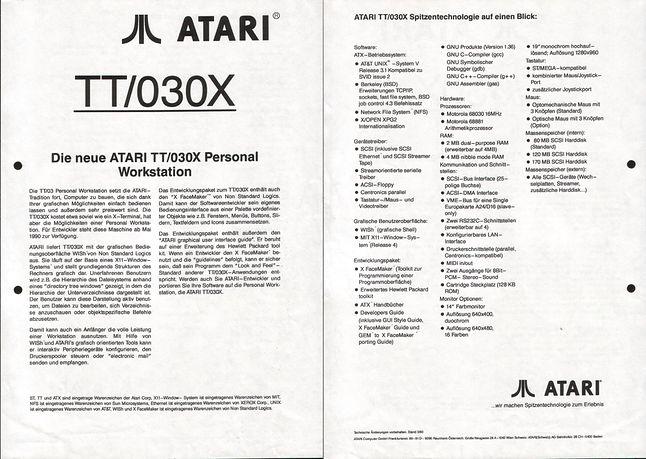 Broszura informacyjna o Atari TT/030X.