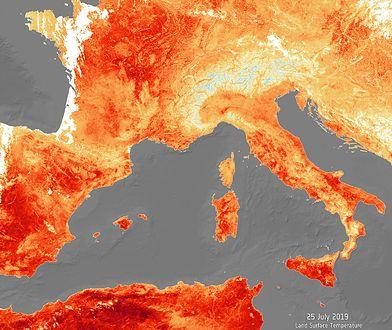 Czerwono na mapie Europy - wielki żar z nieba
