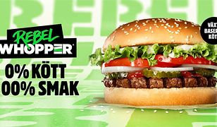 """0% mięsa, 100% smaku"" - głosi szwedzka reklama nowego wege-burgera, Rebel Whopper"