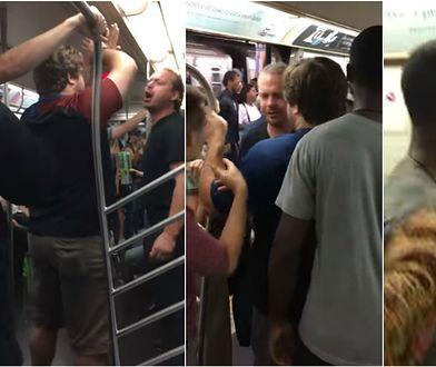Rozpętał w metrze rasistowską awanturę. Pasażerowie szybko dali mu nauczkę