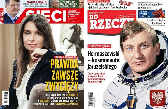 """Okładki nowych numerów """"Sieci"""" oraz """"Do Rzeczy"""" z Martą Kaczyńską i Mirosławem Hermaszewskim."""