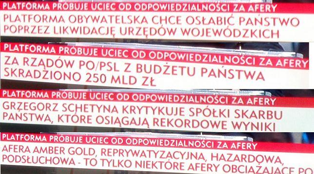 Jacek Kurski usłyszał pytanie, czy lubi paski TVP Info. Odpowiedział