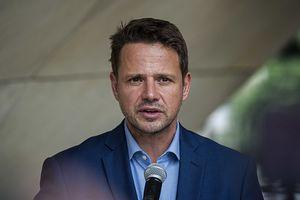 WARSAW, MAZOWIECKIE, POLAND - 2019/09/02: Mayor of Warsaw Rafa Trzaskowski speaks during a press conference summarising the two-day visit of Sadiq Khan the mayor of London in Warsaw. (Photo by Attila Husejnow/SOPA Images/LightRocket via Getty Images)