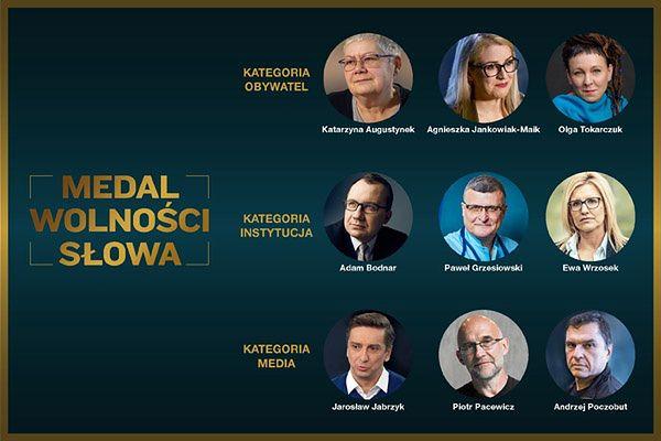 Medal Wolności Słowa. Wśród kandydatów Tokarczuk, Bodnar, Poczobut i Grzesiowski