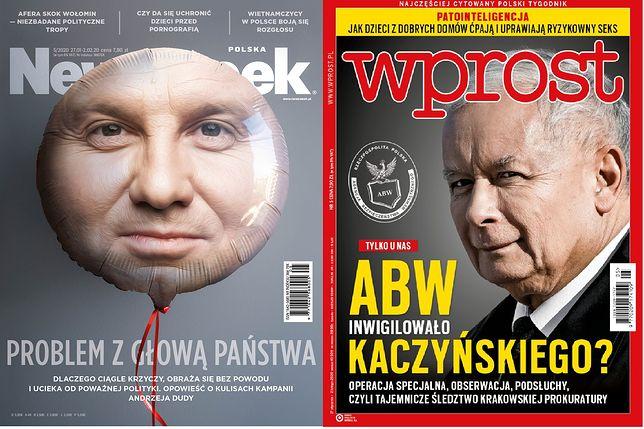 """Andrzej Duda i Jarosław Kaczyński """"bohaterami"""" okładek tygodników"""
