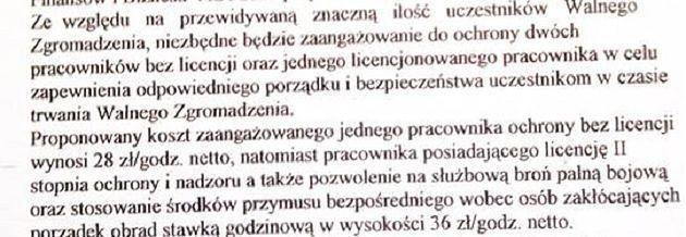 Fragment pisma do spółdzielni z ofertą agencji ochrony