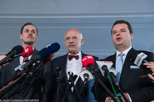 Członkowie Konfederacji. Na zdjęciu (od lewej): Konrad Berkowicz, Janusz Korwin-Mikke oraz Jacek Wilk