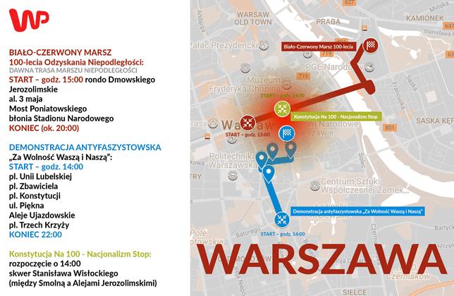 W Warszawie swoje marsze zapowiedzieli narodowcy, prezydent Andrzej Duda oraz ruchy antyfaszystowskie