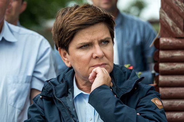 Premier Beata Szydło w zniszczonej przez nawałnice wsi Mała Klonia k. Gostycyna (woj. kujawsko-pomorskie).