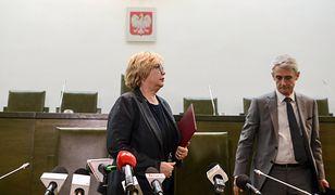 Pierwsza Prezes Sądu Najwyższego - prof. Małgorzata Gersdorf i rzecznik prasowy instytucji - sędzia Michał Laskowski