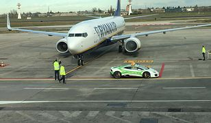 Lamborghini huracan na lotnisku w Bolonii