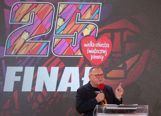 Jerzy Owsiak podczas podsumowania 25. Finału WOŚP