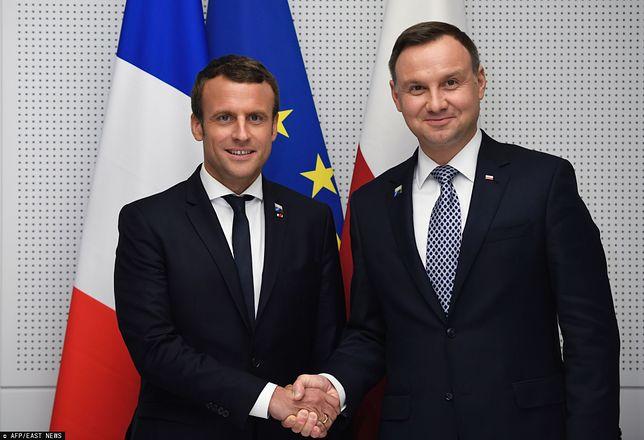 Prezydent Polski Andrzej Duda i prezydent Francji Emmanuel Macron
