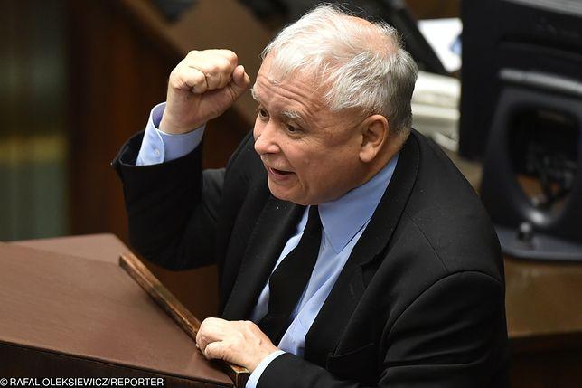 Jarosław Kaczyński podczas pamiętnego przemówienia w Sejmie
