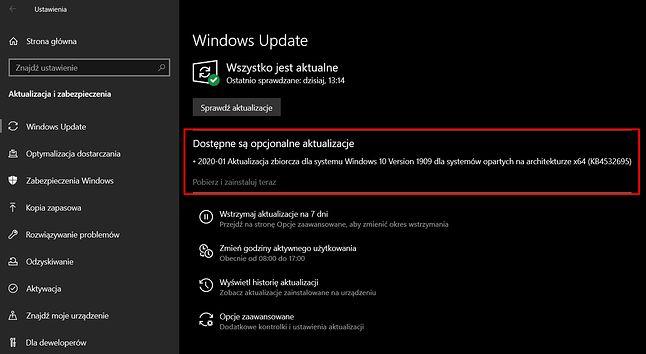 Aktualizacja KB4532695 jest już dostępna w Windows Update.