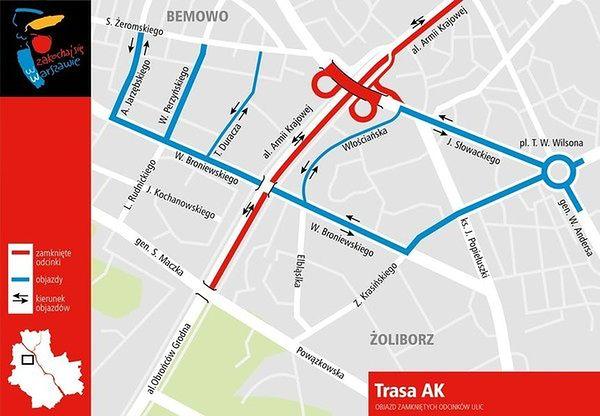 Weekendowe zmiany na Trasie AK w Warszawie
