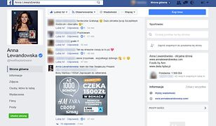 Komentarz opublikowany przez fałszywe konto na oficjalnym profilu Anny Lewandowskiej