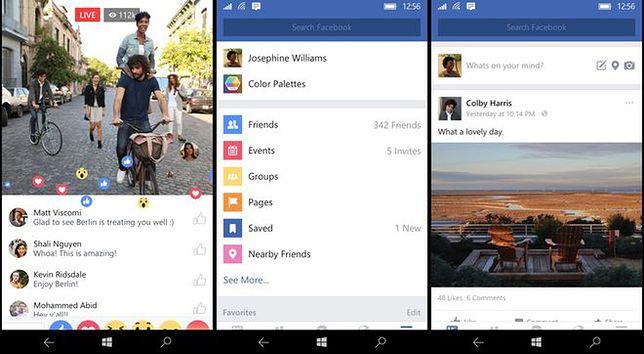 Nowy Facebook na telefony z Windows 10