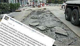 Zabytkowa nawierzchnia na Mokotwskiej zostanie zniszczona? Aktywiści biją na alarm