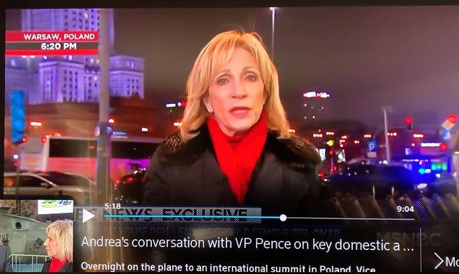 Amerykańska dziennikarka Andrea Mitchell podczas relacjonowania szczytu bliskowschodniego w Warszawie