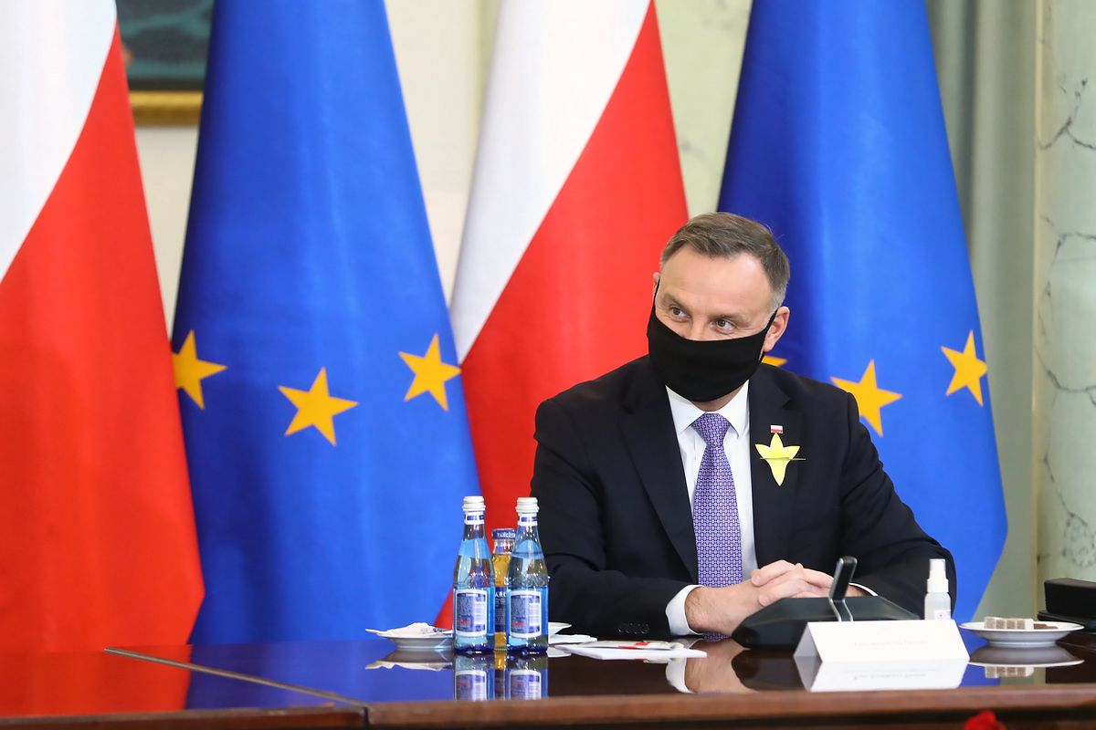 Warszawa, 19.04.2021. Prezydent RP Andrzej Duda. (mr) PAP/Rafał Guz