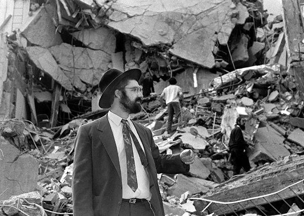 Miejsce zamachu w Buenos Aires, 18 lipca 1994 roku