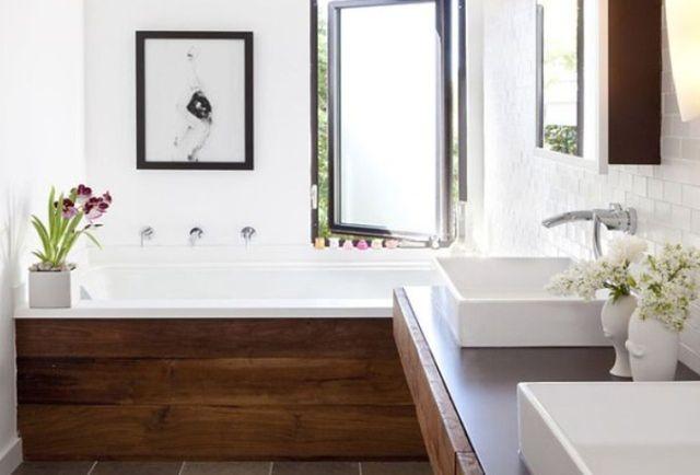 Łazienka z drewnem w roli głównej