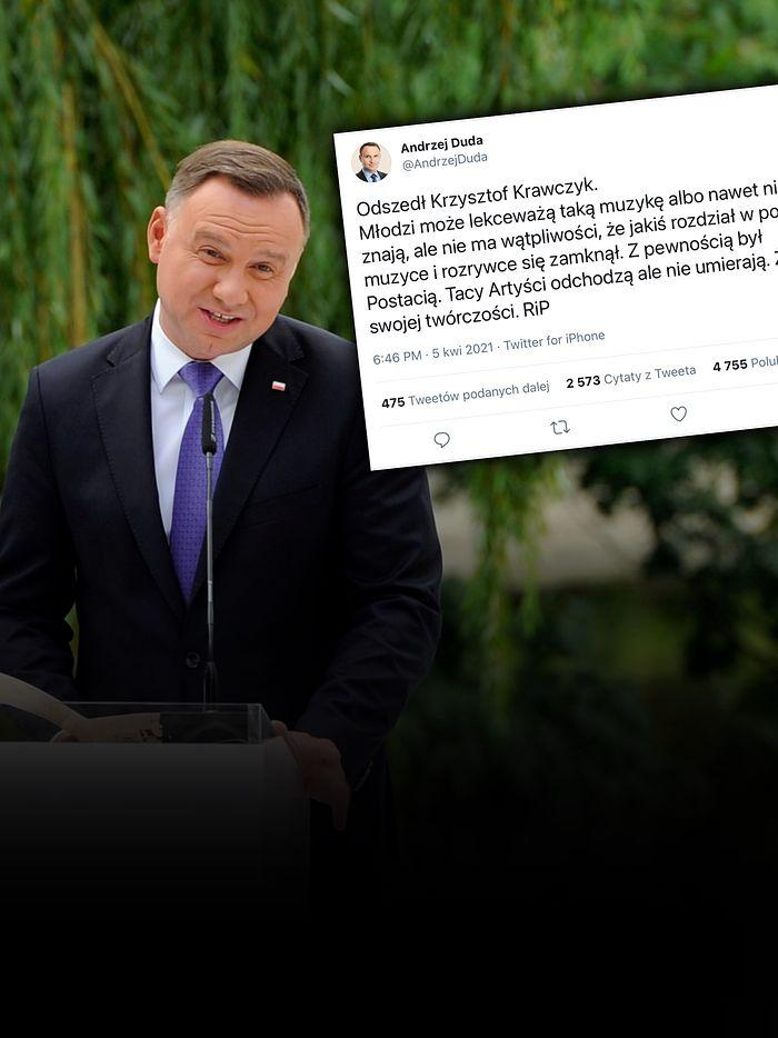 Prezydent Andrzej Duda o Krawczyku. PAD w kondolencjach uderzył w młodych